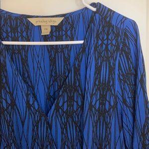 Geometric pattern surplus wrap dress